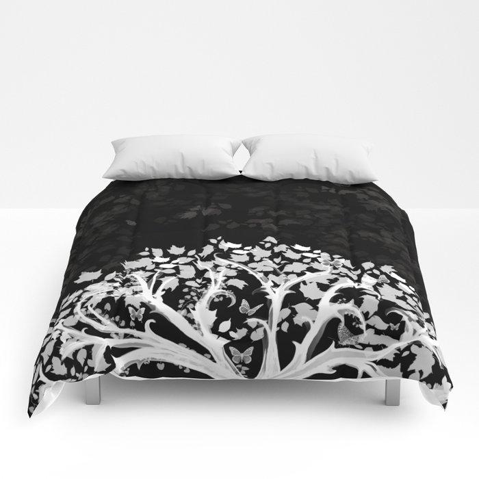 The Zen Tree - White on Black Comforters