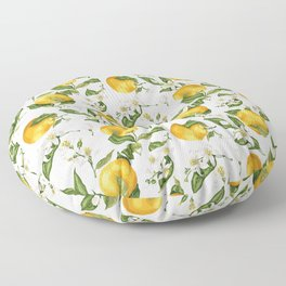 Citrus OrangeTree Branches with Flowers and Fruits Floor Pillow
