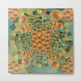 An Orange Clock of Work Pun, 2.0 Metal Print