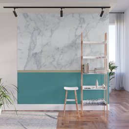 Teal Marble Gold Wall Mural