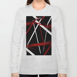 Seamless Red and White Stripes on A Black Background Long Sleeve T-shirt