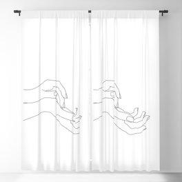 Hands line drawing illustration - Demi Blackout Curtain