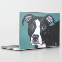 pit bull Laptop & iPad Skins featuring Pedro the handsome Pit Bull  by fuzzymestudios