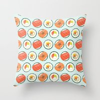 sushi Throw Pillows featuring Sushi by abby putinski