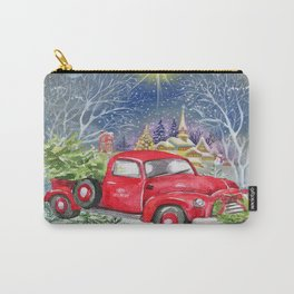 Red Truck With Christmas Tree Carry-All Pouch