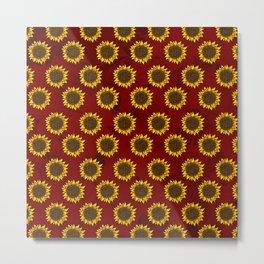 Red Sunflowers Metal Print