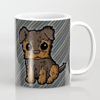 caleb troy Mugs featuring Troy - Silky Terrier by Sylvester Pyke