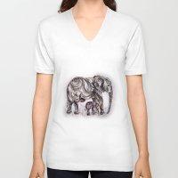 mom V-neck T-shirts featuring Mom Eephant by Harsh Malik