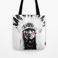 native american Tote Bags featuring Native American by Maioriz Home