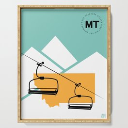 Skiing in Montana Serving Tray