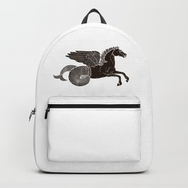 Hippocampus Sea Horse Myth Retro Vintage Rough Design Backpack