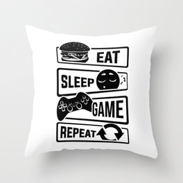 Eat Sleep Game Repeat | Video Game Console Gaming Throw Pillow