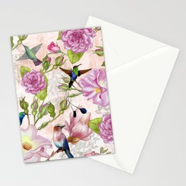Vintage Roses and Hummingbird Pattern Stationery Cards