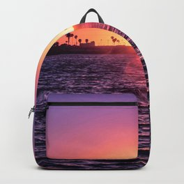 Mission Bay Palm Tree Sunset in San Diego, California Backpack