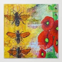Hollyhocks and Honey Canvas Print