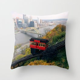 An Autumn Day on the Duquesne Incline in Pittsburgh, Pennsylvania Throw Pillow