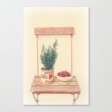 Cranberries and pine tree Canvas Print