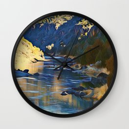 Rio Grande at the John Dunn Bridge on a Winters Day by CheyAnne Sexton Wall Clock