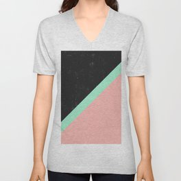 Girly Pink Mint Green Modern Color Block Black Unisex V-Neck