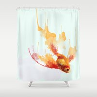 goldfish Shower Curtains featuring GoldFish by Carlos Asensi