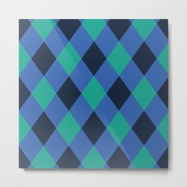 Green and blue checkered Metal Print