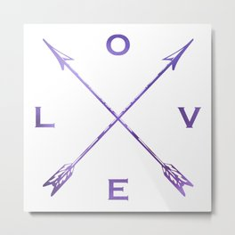 Watercolor Love Arrows Purple Metal Print
