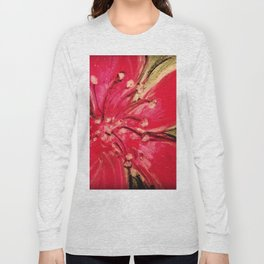 Red Hibiscus Detail Long Sleeve T-shirt