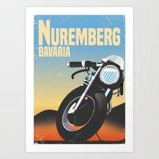 Nuremberg Bavaria Motorcycle travel poster Art Print