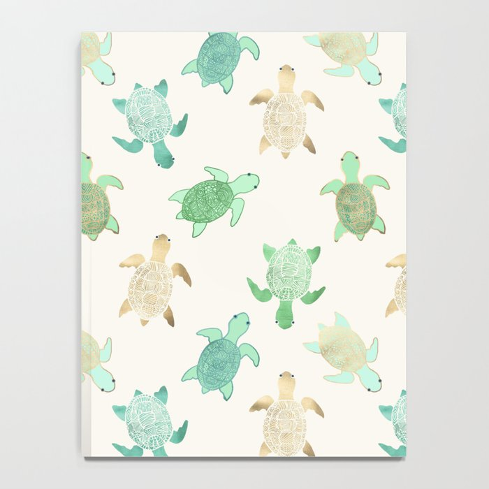 Gilded Jade & Mint Turtles Notebook