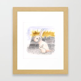 Long Haired Jackalope and baby Framed Art Print
