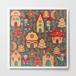 Fairy gnomes and magic houses.  Christmas trees, months and stars. Pattern in folk style. Metal Print