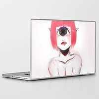 cyclops Laptop & iPad Skins featuring Pink Cyclops by Thais Magnta Canha