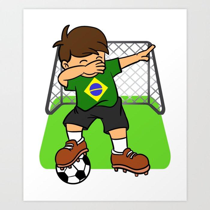8a1b2549c Brazil Soccer Ball Dabbing Kid Brazilian Football Goal Art Print by ...