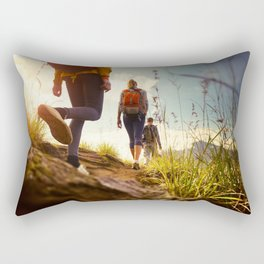 Wonderful Bunch Backpackers Strolling High Grass Lovely Dusk UHD Rectangular Pillow
