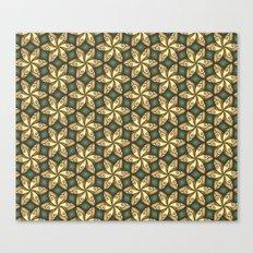 Flower Pattern Yellow/Deep Green Canvas Print