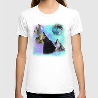 coven T-shirts featuring Wolves Coven Emeral night 2 by Jamie Fontaine