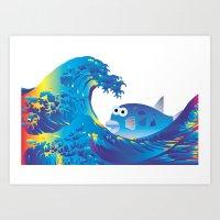 hokusai Art Prints featuring Hokusai Rainbow & Globefish  by FACTORIE