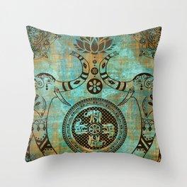 Elephants Lotus Flower Distressed Mandala Design Throw Pillow