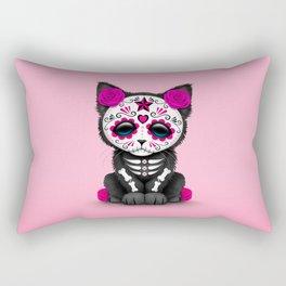 Cute Pink Day of the Dead Kitten Cat Rectangular Pillow