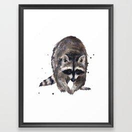 RACOON painting, wilderness nursery art, woodland animal art, racoon watercolor, cute racoon print Framed Art Print