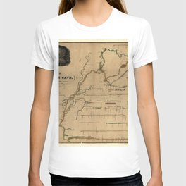 Map Of Mammoth Cave 1835 T-shirt