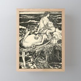 Arthur Rackham - Fairy Tales of the Brothers Grimm (1916) - The Dragon asleep on the Princess' lap Framed Mini Art Print