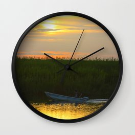 Skiff at Sunset Wall Clock