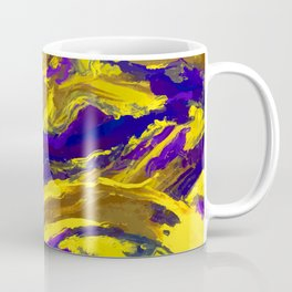 OIL ABSTRACT PAINTING - PLAY OF YELLOW AND BLUE Coffee Mug