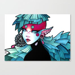 The girl with the turquoise earring Canvas Print