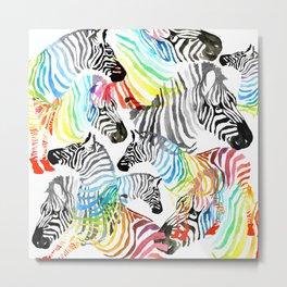 Rainbow Zebra Metal Print