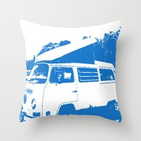 volkswagon Throw Pillows featuring Stellar Ride into the Blue by Dawn Marie