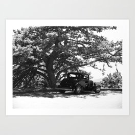Antique Car on the Parkway (BW) Art Print