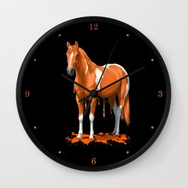 Neon Orange Dripping Wet Paint Horse Wall Clock