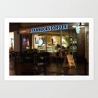 starbucks Art Prints featuring Starbucks by Vanessa Antonina